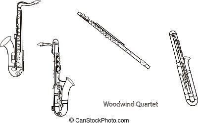 Outline saxophones, sax, bassoon and flute woodwind quartet, black contour on a white background