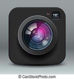 Black color photo camera icon