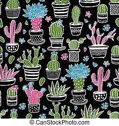 black., colorido, plants., seamless, patrón, interior, ...