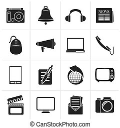 Communication and media icons - Black Communication and...