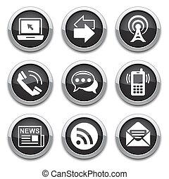 black communication buttons - black Communication shiny ...