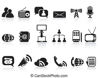 black communication icons set