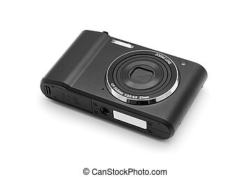 compact camera - black compact camera on white
