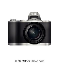 black compact camera with a large lens, foreground vector realistic foto camera