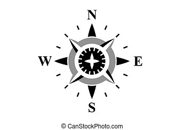 Black compass isolated on white - Black compass rose...