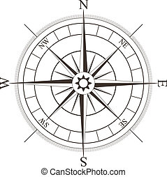 Black compass rose isolated on white - vector illustration