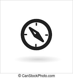 Black compass vector line icon on white background