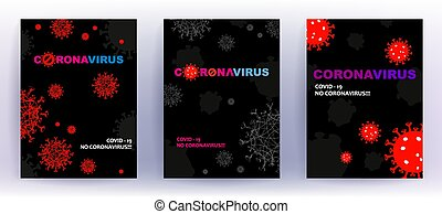 Black composition with abstract silhouette of coronavirus ...