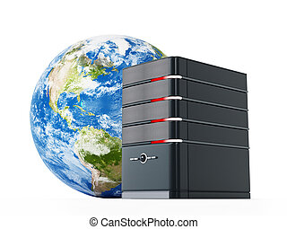 Black computer case in front of the earth model. 3D illustration