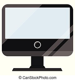Black computer display with touch screen flat design cartoon style vector illustration isolated on white background.