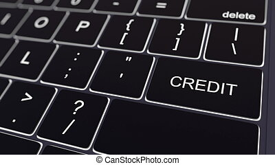 Black computer keyboard and glowing credit key. Conceptual 3D rendering