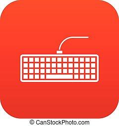Black computer keyboard icon digital red