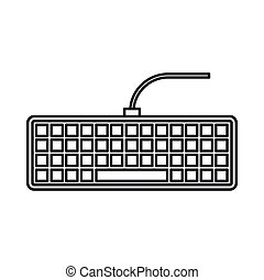 Black computer keyboard icon, outline style