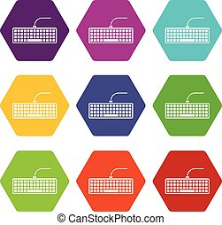 Black computer keyboard icon set color hexahedron