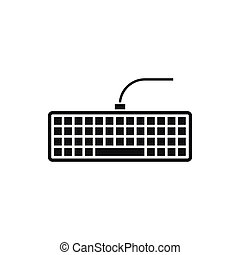 Black computer keyboard icon, simple style