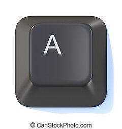 Black computer keyboard key Letter A 3D
