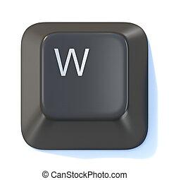 Black computer keyboard key Letter W 3D