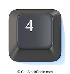 Black computer keyboard key Number 4 3D