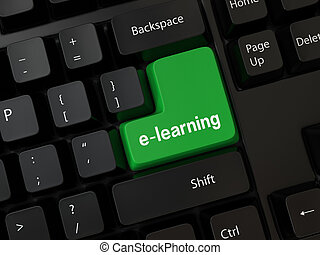 e-learning - Black computer Keyboard with a word e-learning
