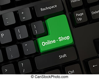 online-shop - Black computer Keyboard with a word...