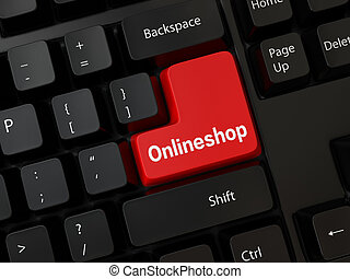 Onlineshop - Black computer Keyboard with a word Onlineshop