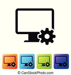 Black Computer monitor and gear icon isolated on white background. Adjusting app, setting options, maintenance, repair, fixing monitor concepts. Set icon in color square buttons. Vector Illustration