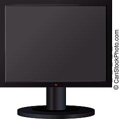 Black computer monitor mockup, realistic style
