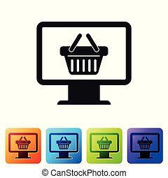 Black Computer monitor with shopping basket icon isolated on white background. Online Shopping cart. Supermarket basket symbol. Set icon in color square buttons. Vector Illustration