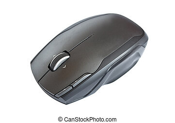 Black computer mouse isolated on white