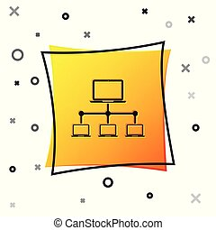 Black Computer network icon isolated on white background. Laptop network. Internet connection. Yellow square button. Vector Illustration