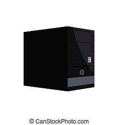 Black computer system unit icon, cartoon style
