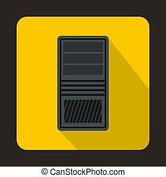 Black computer system unit icon, flat style