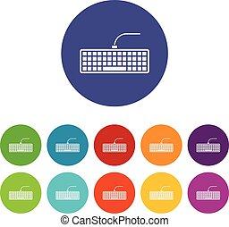 black , computer toetsenbord, set, iconen