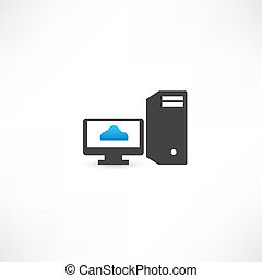 Black computer with cloud on display