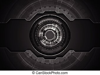 Black concept technology background with gear shape