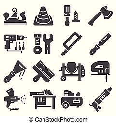 Black Construction tools icon set