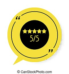 Black Consumer or customer product rating icon isolated on white background. Yellow speech bubble symbol. Vector Illustration