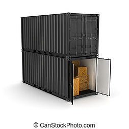 black container on white background