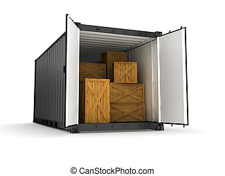 black , container, op wit, achtergrond