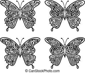 Black Contour Butterflies
