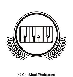black contour circle with decorative olive branch and piano keyboard