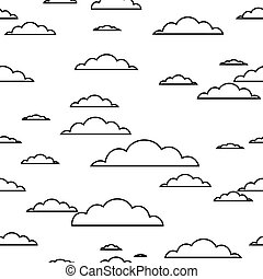 black contour Cloud seamless pattern on white background. Vector