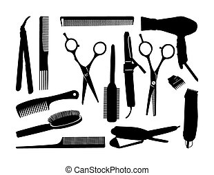black contour hairstyling tools.eps - black contour...