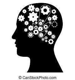 black contour human with white gear icon
