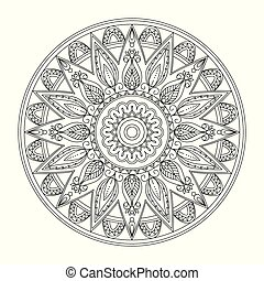 black contour isolated arabesque mandala with leaves 2