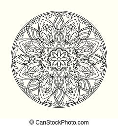 black contour isolated arabesque mandala with leaves