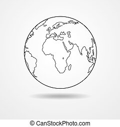 Black contour of the globe - Black simple scheme of the ...