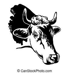 Black contour portrait of cow vector abstract