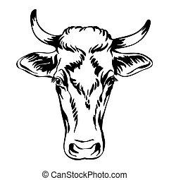 Black contour portrait of the cow vector