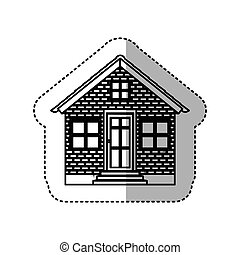 black contour silhouette sticker with house